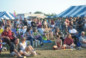 Music goers enjoy the festival atmosphere at Rock the Barn